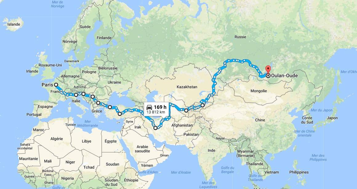 carte trajet mongol rally